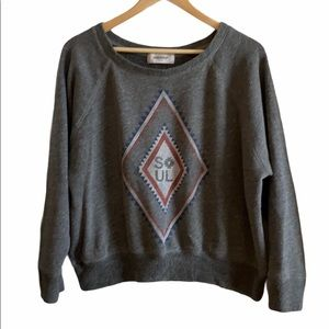 Soulcycle Cropped Sweatshirt - Tribal Aztec design